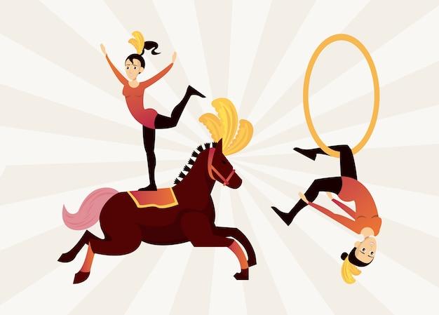 Personagens de mulheres artistas de circo pendurados em um ringue e ilustração de cavalo
