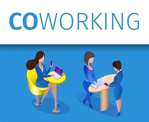 Personagens de mulheres de negócios trabalham na área de coworking