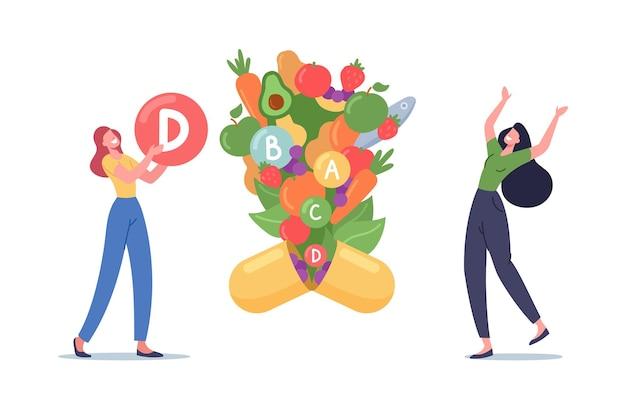 Personagens de mulheres jovens segurando uma bola enorme com o símbolo de vitamina d, frutas e vegetais saudáveis voam para fora da cápsula de suplemento nutricional