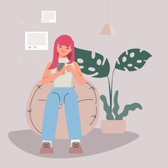 Personagens de mulheres jovens usando telefones celulares. plano de fundo do conceito de mídia social