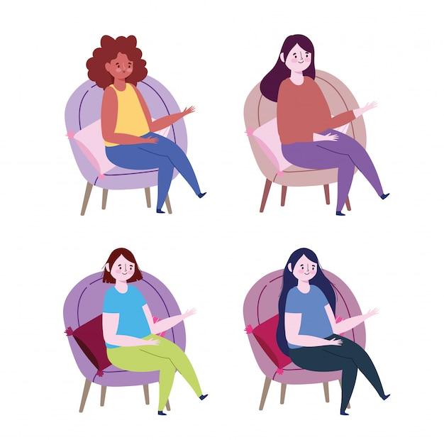 Personagens de mulheres sentadas em cadeiras com desenhos animados de almofadas