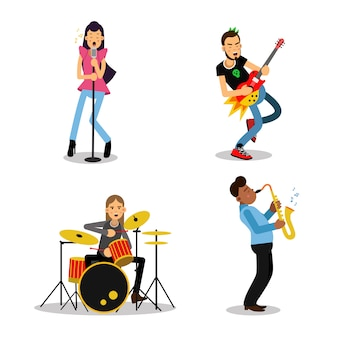 Personagens de músico com diferentes instrumentos musicais, ilustrações