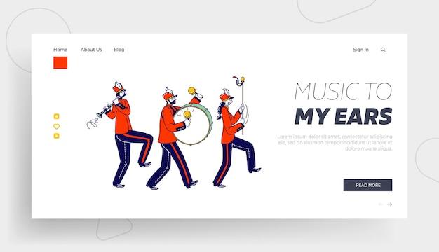 Personagens de músicos caminhando com o modelo de página inicial de março.