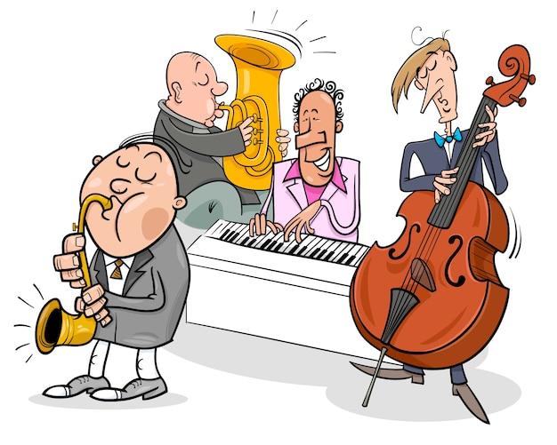 Personagens de músicos tocando musica de jazz