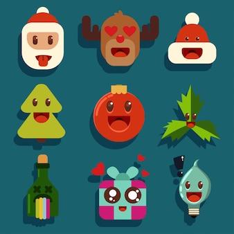 Personagens de natal kawaii com emoções diferentes. papai noel, rena, garrafa de champanhe