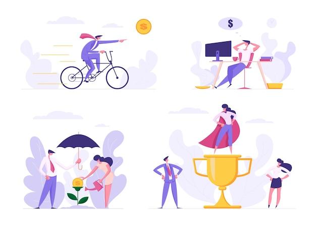 Personagens de negócios orientados para o lucro ganhando dinheiro ilustração plana