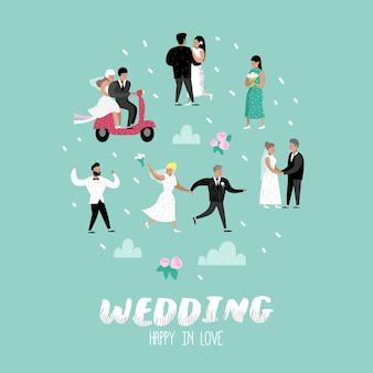 Personagens de noiva e do noivo de desenhos animados de pessoas de casamento