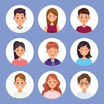 Personagens de nove pessoas