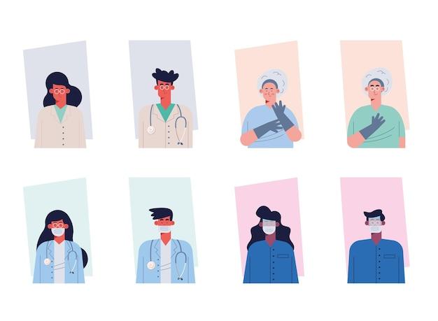 Personagens de oito médicos e trabalhadores
