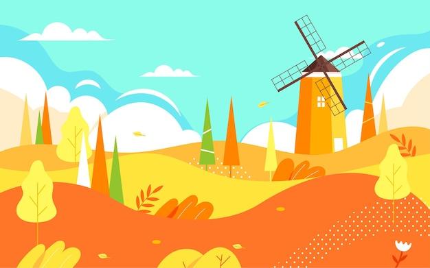 Personagens de outono atividades ao ar livre ilustração amigos de outono viajam cartaz de passeio de outono