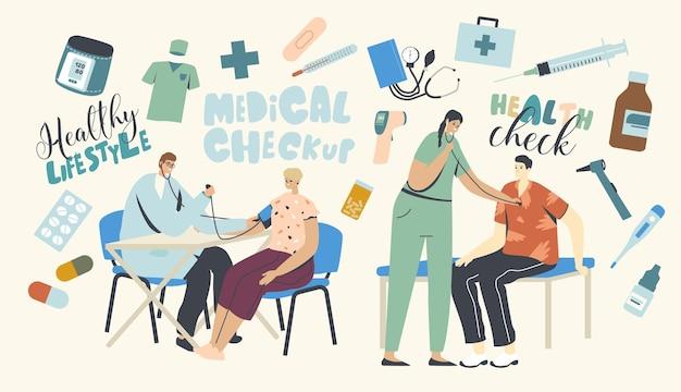 Personagens de pacientes em exame médico