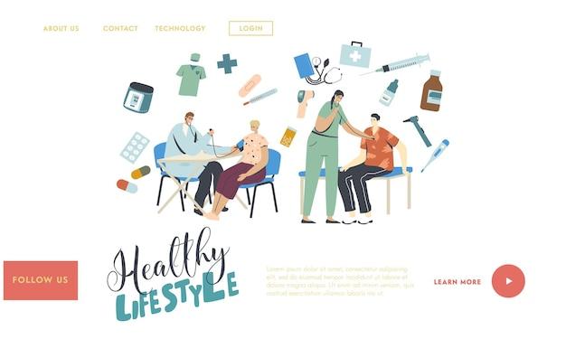Personagens de pacientes no modelo de página inicial de verificação médica.