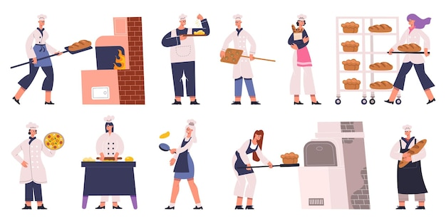 Personagens de padeiros profissionais cozinhando, assando pão e pastelaria. personagens de padeiros fazendo pastelaria e saboroso pão conjunto de ilustração vetorial. personagens femininos e masculinos de bakers