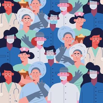 Personagens de padrão de equipe de médicos profissionais