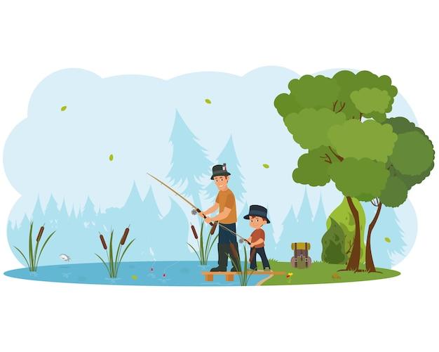 Personagens de pai e filho pescando.