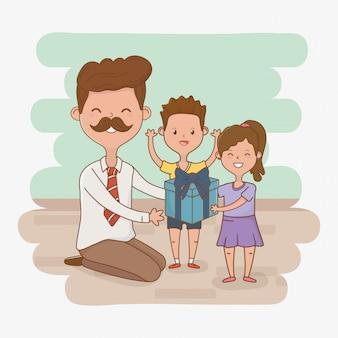 Personagens de pai e filhos