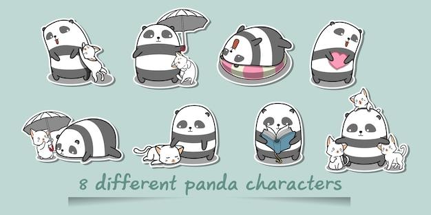 Personagens de panda diferentes.
