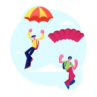 Personagens de pára-quedista pulando com pára-quedas subindo no céu. ilustração plana dos desenhos animados