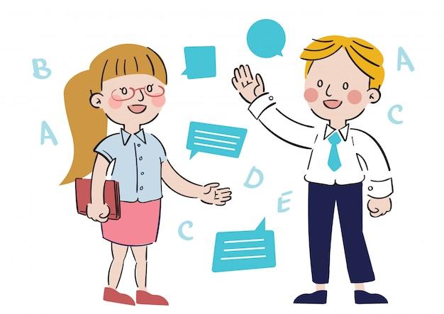 Personagens de pessoa desenhada mão e bolha de comunicação