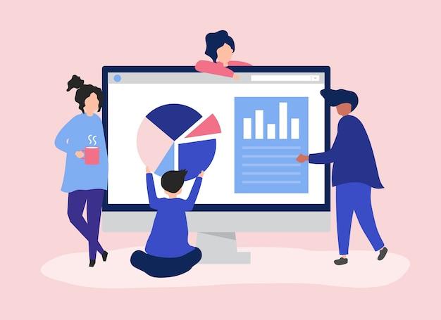 Personagens de pessoas analisando gráficos e diagramas