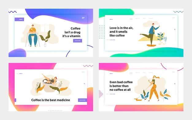 Personagens de pessoas bebendo café conjunto de página inicial. homem andando de skate com uma xícara de chá. mulher andando com cachorro e bebida quente. cara no site de coffee break, banner.