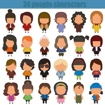 Personagens de pessoas bonito dos desenhos animados.