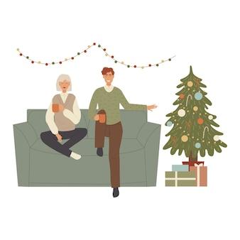 Personagens de pessoas celebram sentados no sofá