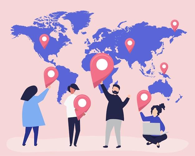 Personagens de pessoas com mapa e ilustração de marcador de gps