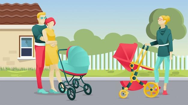 Personagens de pessoas com recém-nascidos caminhando ao ar livre