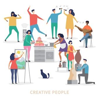 Personagens de pessoas criativas de fundo do grupo