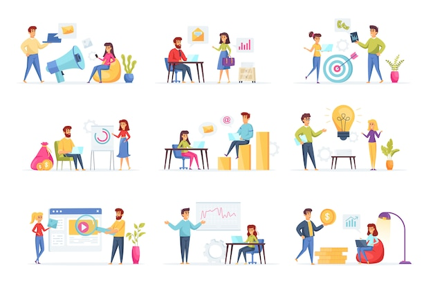 Personagens de pessoas de coleção de estratégia de marketing