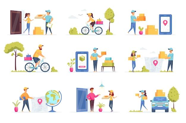 Personagens de pessoas de coleta de entrega