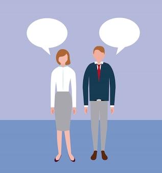 Personagens de pessoas de negócios com bolhas do discurso