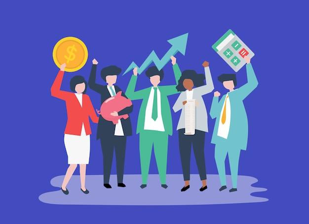 Personagens de pessoas de negócios e ícones de crescimento de desempenho