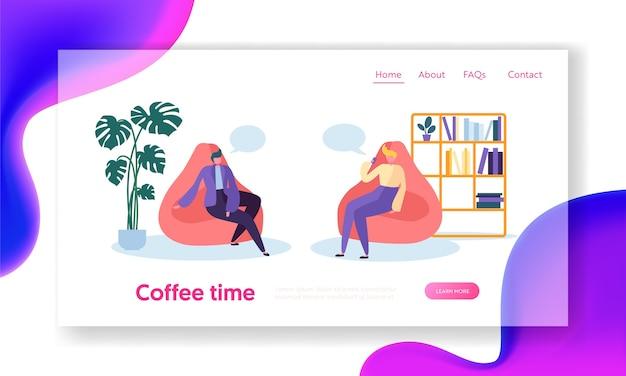 Personagens de pessoas de negócios relaxando na hora do café, sentados em poltronas confortáveis na sala. página inicial do estilo de vida do escritório.