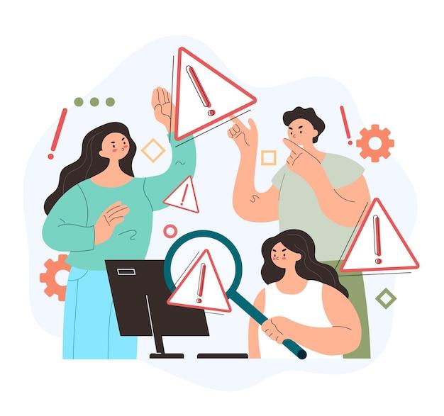 Personagens de pessoas de trabalho em equipe pesquisando página da web de aviso de operação de erro 404 do sistema