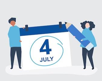 Personagens de pessoas e ilustração de conceito de quatro de julho