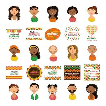 Personagens de pessoas e letras de herança hispânica nacional em estilo simples