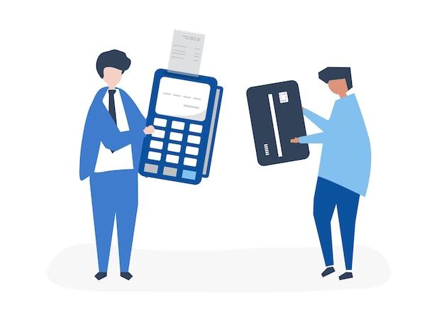 Personagens de pessoas fazendo uma transação com cartão de crédito