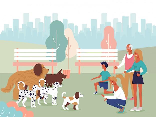 Personagens de pessoas felizes dos desenhos animados, brincando com cães