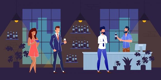 Personagens de pessoas felizes no desenho animado bar night club