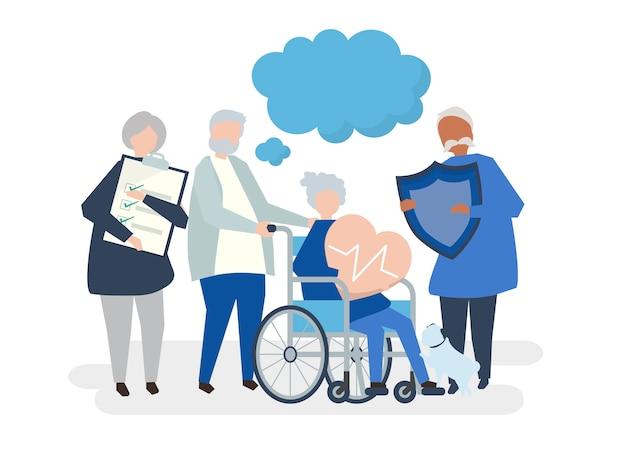 Personagens de pessoas idosas segurando ícones de saúde