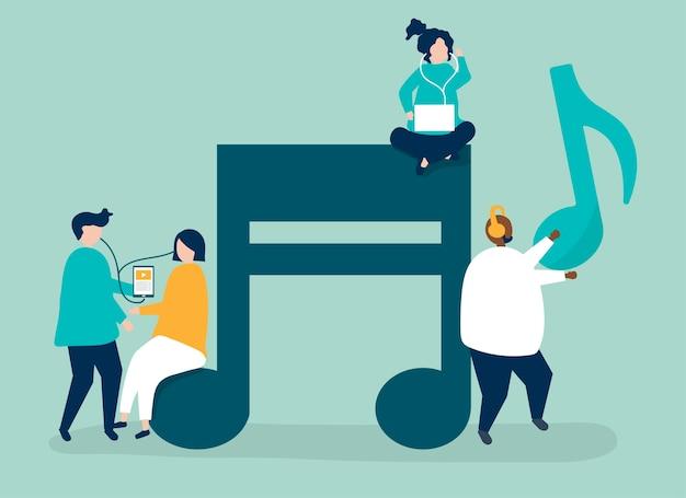 Personagens de pessoas ouvindo a ilustração da música
