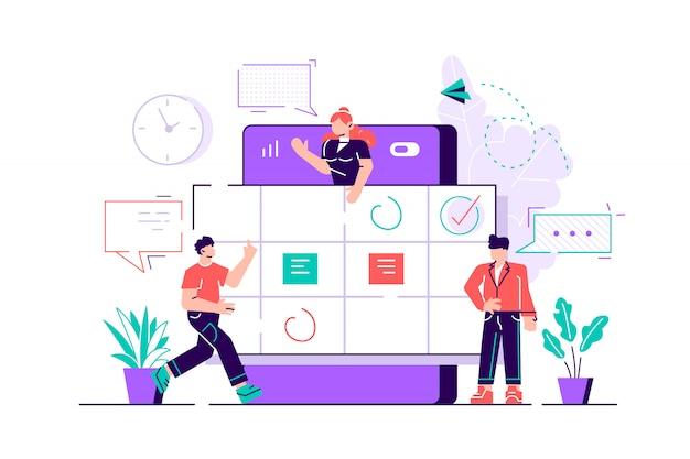 Personagens de pessoas pequenas fazem uma programação on-line no tablet. projetar tarefas de gráficos de negócios agendando uma semana. ilustração de estilo moderno design plano para página da web, cartões, pôster.
