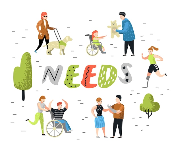 Personagens de pessoas planas com necessidades especiais