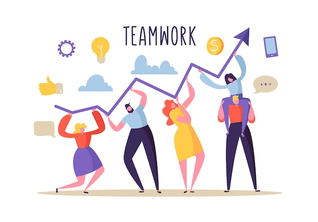 Personagens de pessoas planas trabalhando juntos e segurando a seta do gráfico