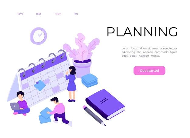 Personagens de pessoas planejando programação com calendário.