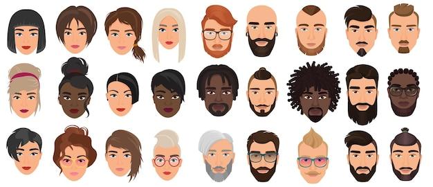 Personagens de pessoas, retratos faciais, cabeças de adultos com diferentes rostos ou cabelos