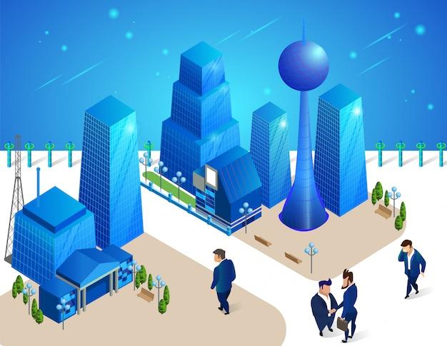 Personagens de pessoas se movem entre edifícios futuristas.