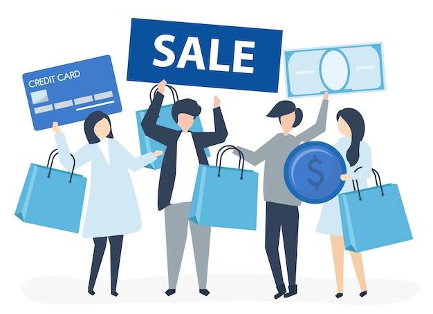 Personagens de pessoas segurando a ilustração de ícones de compras